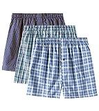 LAPASA Men's Cotton Classic Woven Boxer Shorts Plaid Underwear Button Fly 3 Pack M40 (Multicolor/3 Pack, Large.)