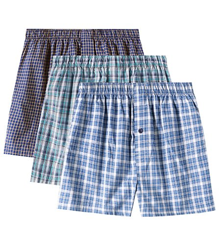 LAPASA Men's Cotton Classic Woven Boxer Shorts Plaid Underwear Button Fly 3 Pack M40 (Multicolor, X-Large) (Boxer Classic Plaid Mens)