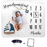 Cobija de Bebé Diseño Barco   Manta Mensual de Bebé   Cobija de Fondo Fotográfica   1 a 12 Meses   Incluye Gorro de Marinero