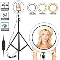 "10"" Selfie Ring Light with 210CM Long Tripod Stand & Cell Phone Holder - Ring Light for iPhone Android, Light Stand for Live Stream/Makeup, YouTube Video Photography(210CM)"