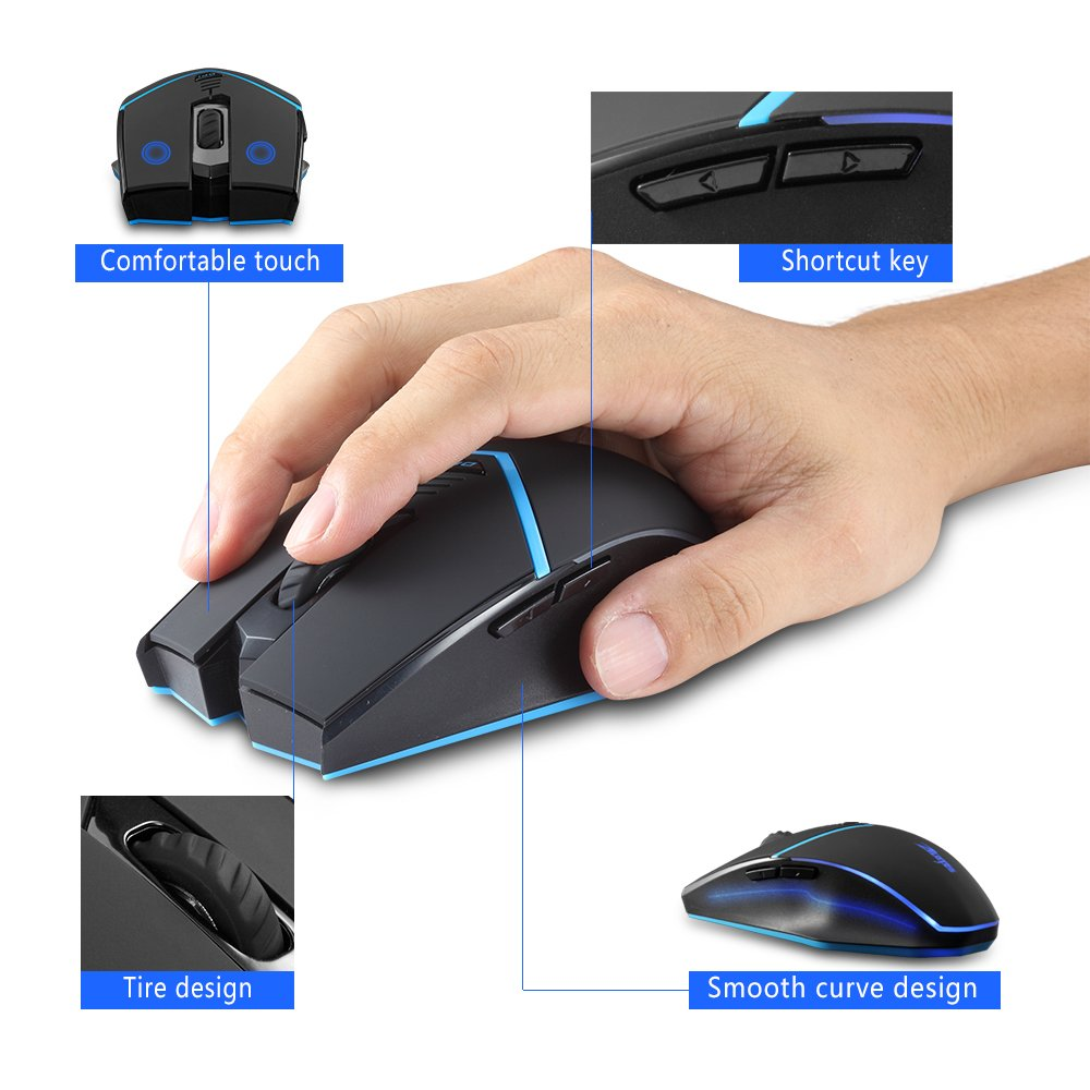 Zelotes F12 Wireless Mouse with Nano Receiver,2400DPI 2.4G Portable Mobile Ergonomic Gaming Mouse Mice for Gamer PC, Laptop, Notebook, Computer,Macbook,Black by Zelotes (Image #5)