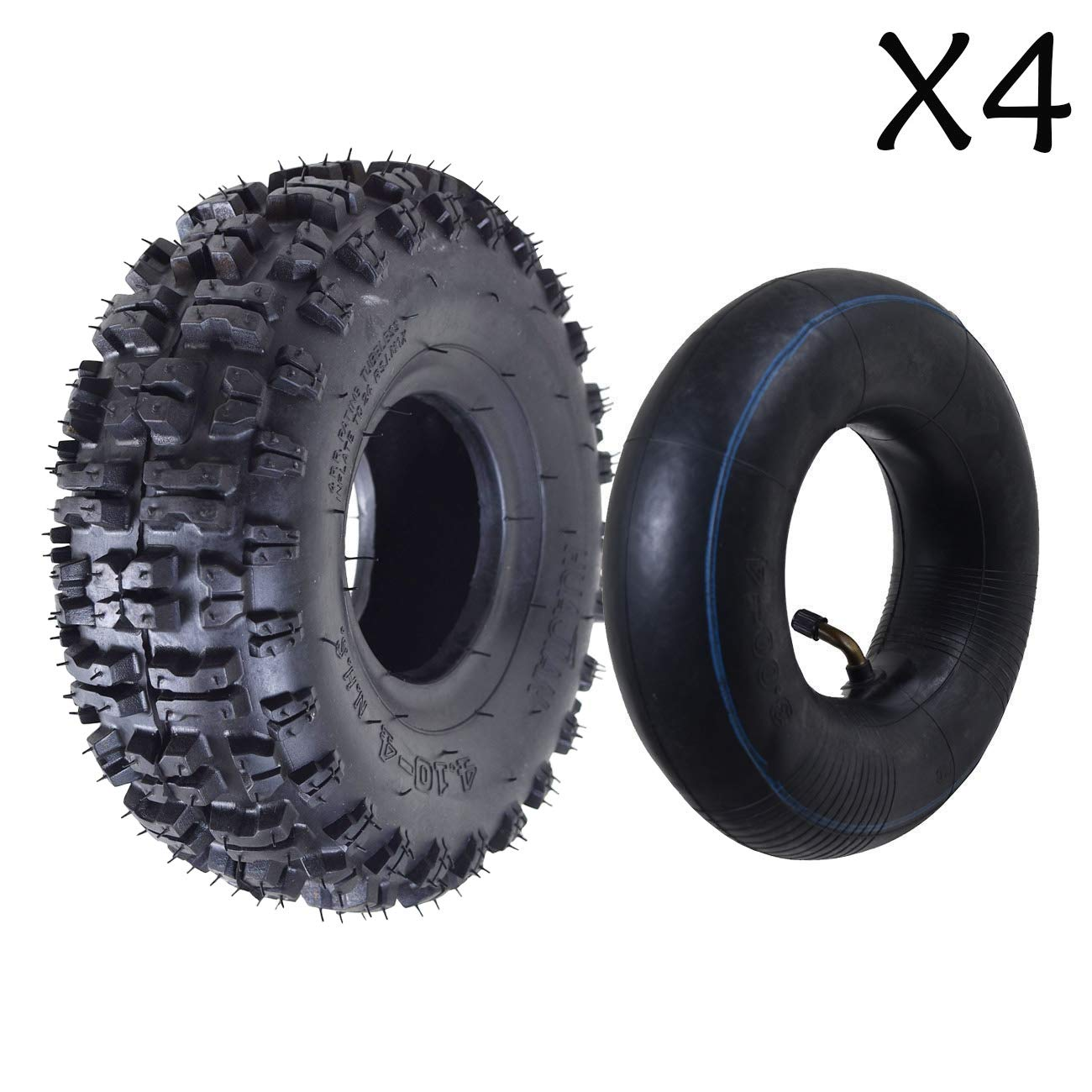 ZXTDR Pack of 4 Tire and Inner Tube 4.10x3.50-4'' | Off Road Mud ATV Quad Mini Pocket Bike Go kart Parts