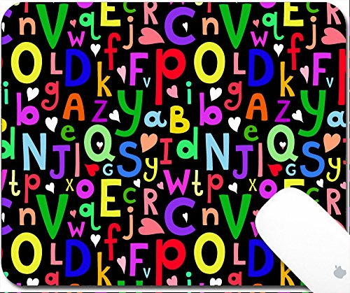 Luxlady Gaming Mousepad 9.25in X 7.25in IMAGE: 33728906 Vector seamless pattern with Latin letters of different sizes on dark background in a cartoon style children s illustration with alphabet