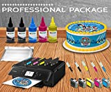 Professional Edible Printer System - Comes with Refillable Edible Ink Cartridges, 24 Frosting Sheets, 500ml Edible Ink, Refillables Edible Cleaning cartridges, Full Package