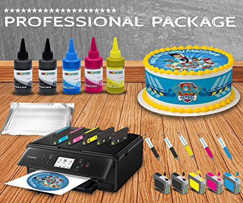 Professional Edible Printer System - Comes with Refillable Edible Ink Cartridges, 24 Frosting Sheets, 500ml Edible Ink, Refillables Edible Cleaning cartridges, Full Package by INKUTEN