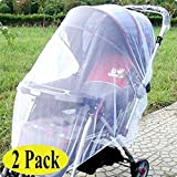 Swity Home 2 Pack Baby Mosquito Net for Strollers, Car Seats, Cradles, White