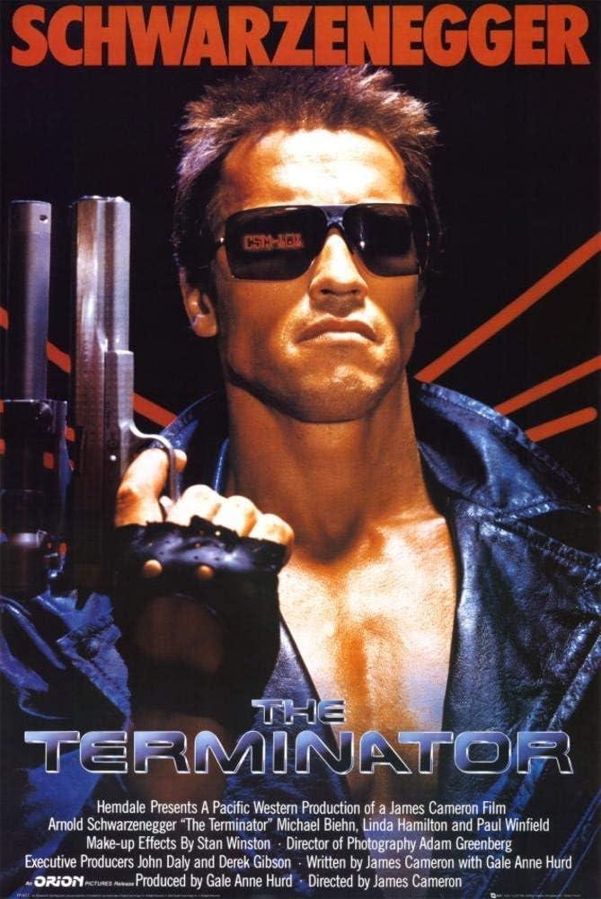 Terminator Movie Arnold Schwarzenegger with Gun 80s Funny Metal Tin Sign Wall Decor,Metal Retro Signs Plaques
