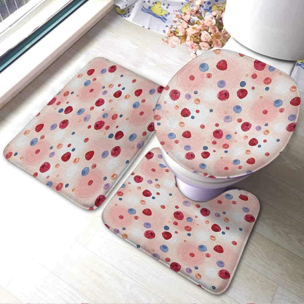 U-Shaped Contour Rug Mat & Toilet Lid Cover Set Peach,Raspberries Blueberries Cranberries Food Themed Design with Circle Backdrop, Multicolor,Polyester Non-Slip Doormat Rugs Colorful