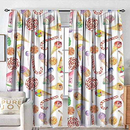 Blackou Curtains Colorful,Ice Cream Candy Cakes Lollipop Clementine Fruits Cute Birthday Celebration Pattern,Multicolor,Wide Blackout Curtains, Keep Warm Draperies,Set of 2 Panels 60