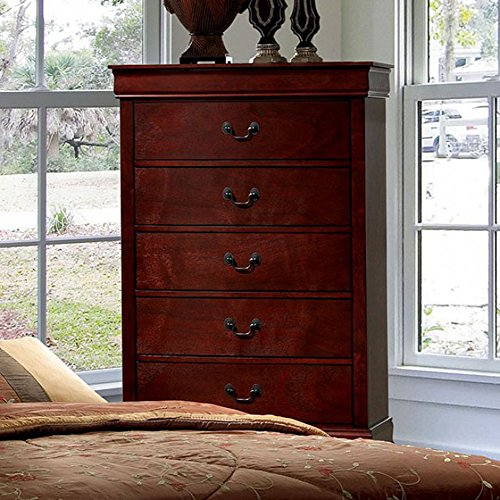 Louis Philippe Cherry Dresser (Furniture of America CM7866CH-C Louis Philippe III Cherry Chest Drawer)