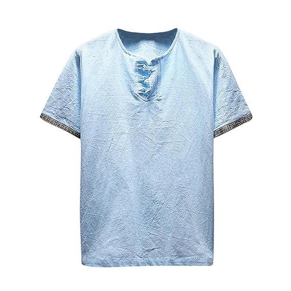 Blusa de Verano para Hombre,Camisetas Hombre,🔥Camiseta de Manga Corta con Cuello