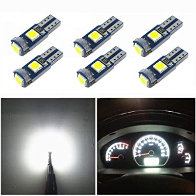 WLJH 6x T5 LED Wedge Bulbs Canbus Error Free 74 73 17 Extremely Bright White 3030 Chipsets for Auto Car LED Gauge Cluster Dashboard Light Lamp Instrument Panel Indicators: Automotive