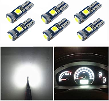 Amazon Com Wljh 6x T5 Led Wedge Bulbs Canbus Error Free 74 73 17 Extremely Bright White 3030 Chipsets For Auto Car Led Gauge Cluster Dashboard Light Lamp Instrument Panel Indicators Automotive