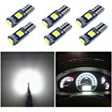 WLJH 6x T5 LED Wedge Bulbs Canbus Error Free 74 73 17 Extremely Bright White 3030 Chipsets for Auto Car LED Gauge…