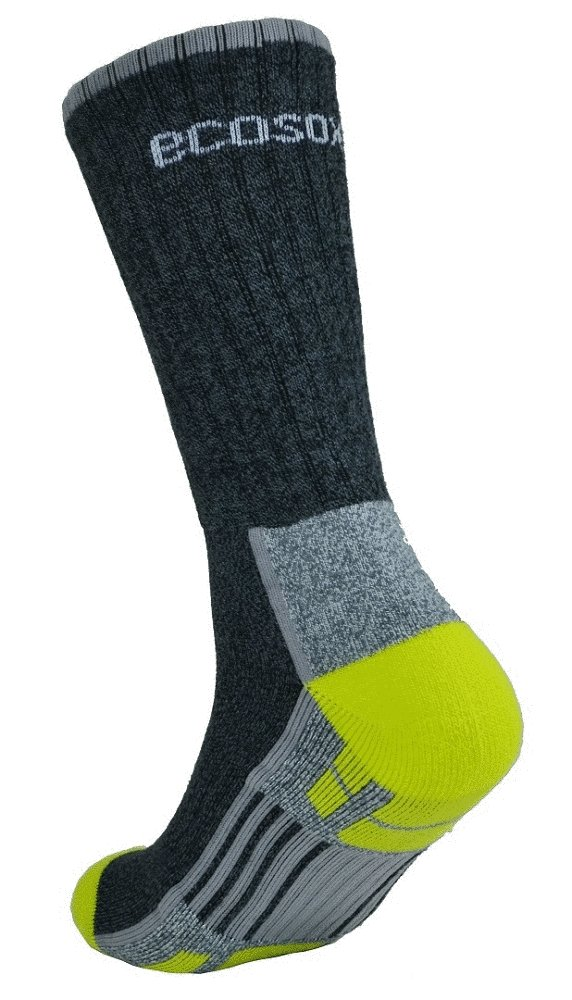 Ecosox Viscose Bamboo Light Weight Hiker w/Arch Support Socks (Charcoal/Lime, 10-13) (5 Pack) by Ecosox