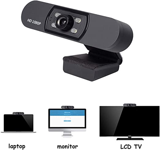 Bainuojia Cámara web HD, USB 1080P, webcam con micrófono, USB 2.0, cámara web con 4 luces LED, para PC, portátiles, ordenadores de sobremesa, videoconferencia online: Amazon.es: Hogar