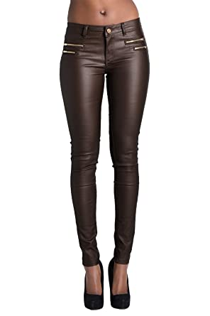 Womens Brown Leather Wet Look Leggings UK 8: Amazon.co.uk: Clothing