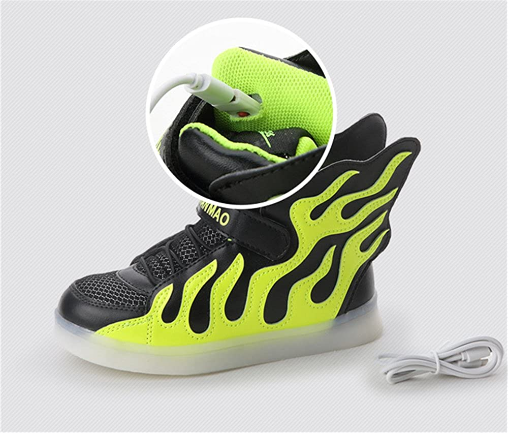 LED Light Up High Top Wings Shoes USB Rechargeable Flashing Sneakers for Toddlers Kids Boys Girls