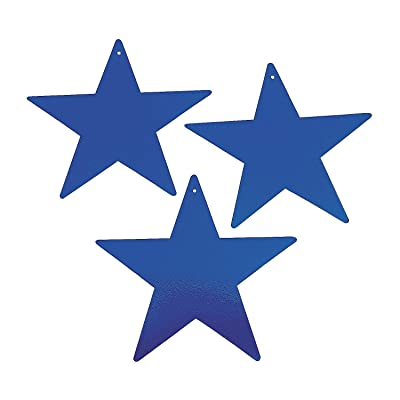 "Fun Express - 12"" Blue Cardboard Star Decoration 12pc for Party - Party Decor - Wall Decor - Cutouts - Party - 12 Pieces: Toys & Games"