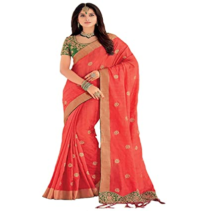 Amazon.com: Peach Ethnic Silk Traditional Formal Saree Zari ...
