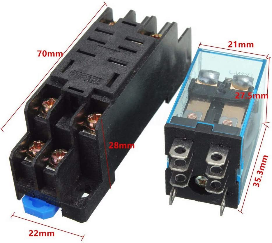 HOUTBY 10Pack 24V DC Coil Power Relay LY2NJ DPDT 8 Pin HH62P JQX-13F With Socket Base Electromagnetic