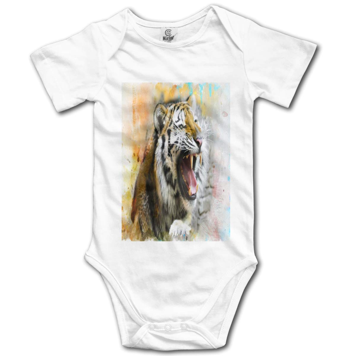 Tiger Paint Splash Colorful Boys /& Girls Black Short Sleeve Romper Bodysuits for 0-24 Months
