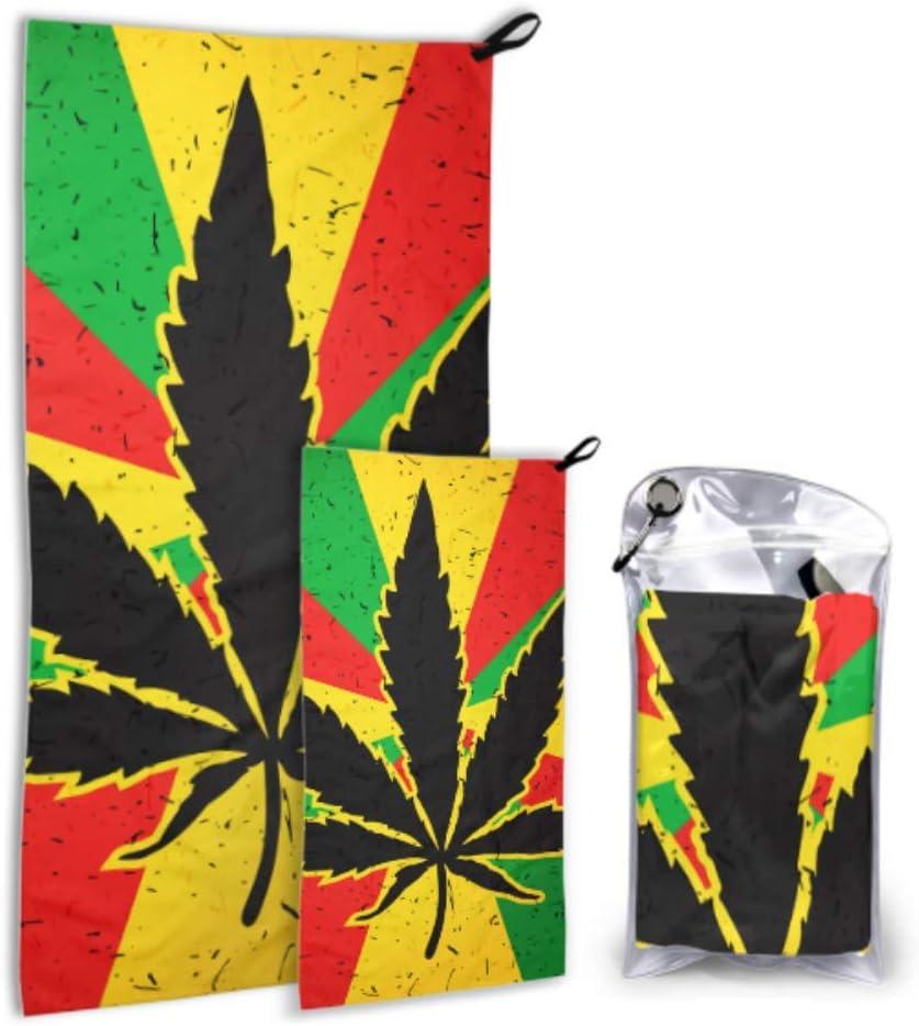 Rtosd Hoja de Cannabis en Grunge Bandera Rastafari Paquete de 2 Toallas de Playa de Microfibra Juego de Toallas corporales de Secado rápido Lo Mejor para el Gimnasio Viajes de mochilero Yoga Fitne