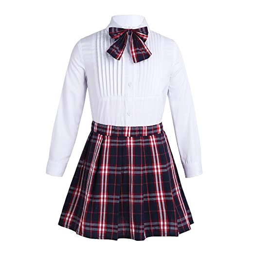 5d1bb638cf Amazon.com: Freebily Kids Girls Princess School Uniform Dress Outfit Long  Sleeves White Lapel Pleated Shirt Plaid Skirt Bow Tie Set White&Blue 3-4:  Clothing