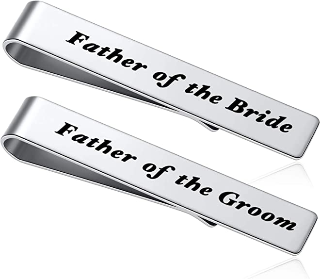 Set of two aluminum Tie Clips,Father of the GroomFather of the Bride tie clip Custom Tie bar