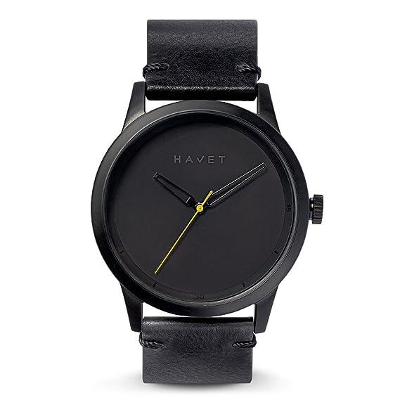 HAVET | Reloj de hombre Bell Rock de acero color negro y correa piel negra: Amazon.es: Relojes