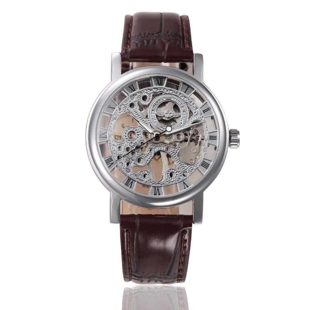 Winnerユニセックススケルトン中空hand-wind Mechanical PUレザーWrist Watches for Men / women-brown B019Q91AUO