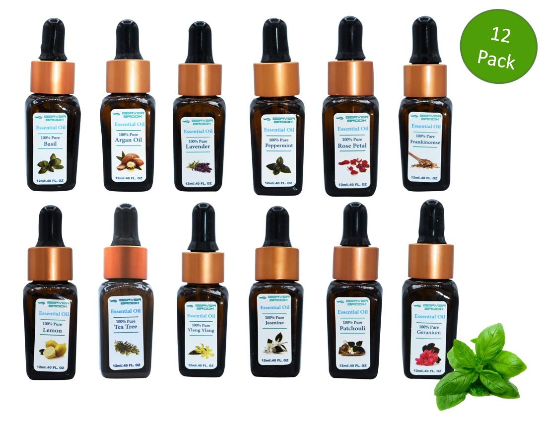 Beaver Brook 100% Pure Essential Oil Kit Aromatherapy Highest Quality 12ml Dropper Bottle - 12 Pack by Beaver Brook