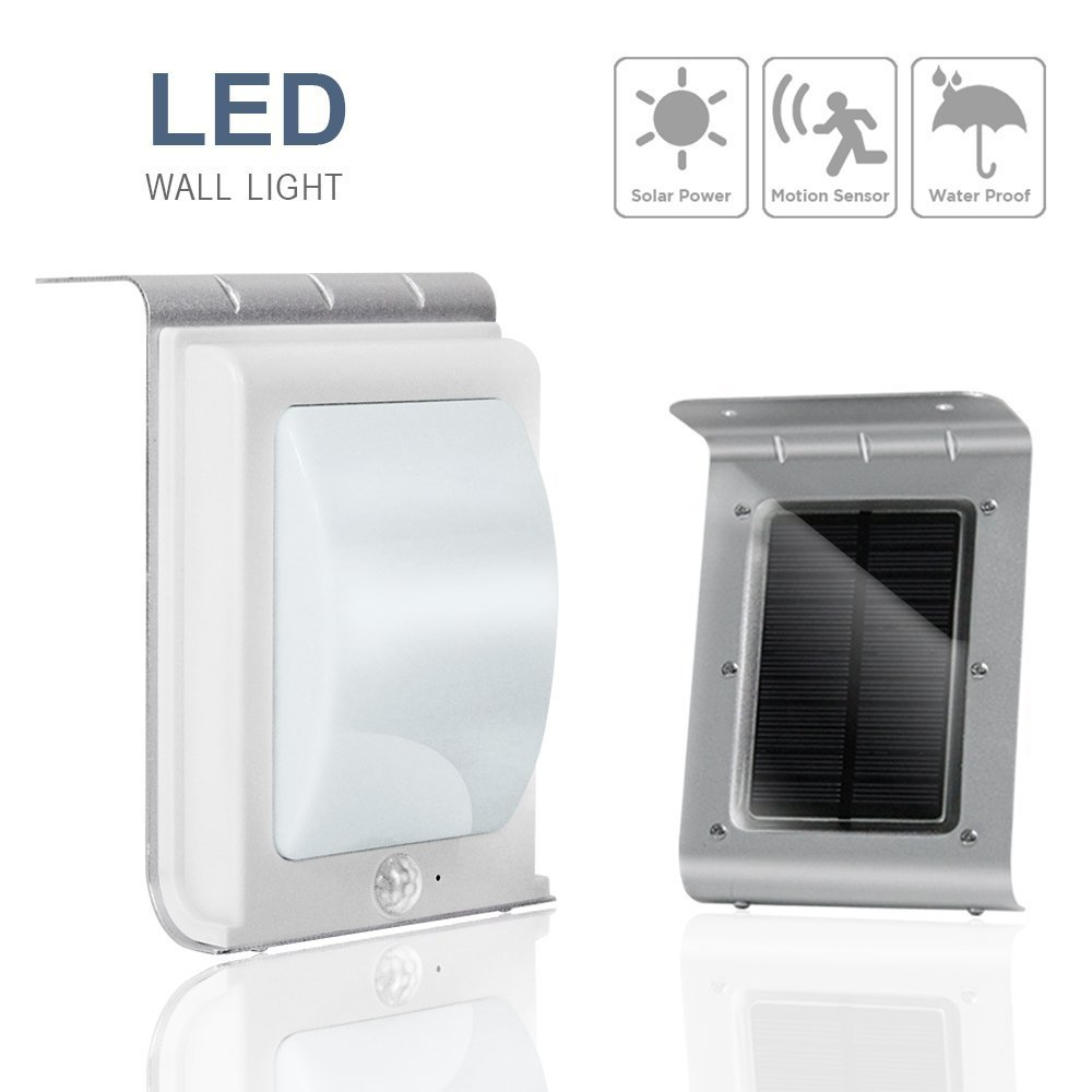 eTopLighting 16-LED Solar-Powered Outdoor Wall Light Lamp with Motion Sensor, Water Proof, Heat Proof, Durable Metal Body, Solar Panel, AGG1996