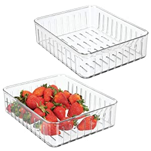 mDesign Plastic Kitchen Refrigerator Produce Storage Organizer Bin with Open Vents for Air Circulation - Food Container for Fruit, Vegetables, Lettuce, Cheese, Fresh Herbs, Snacks - L, 2 Pack - Clear