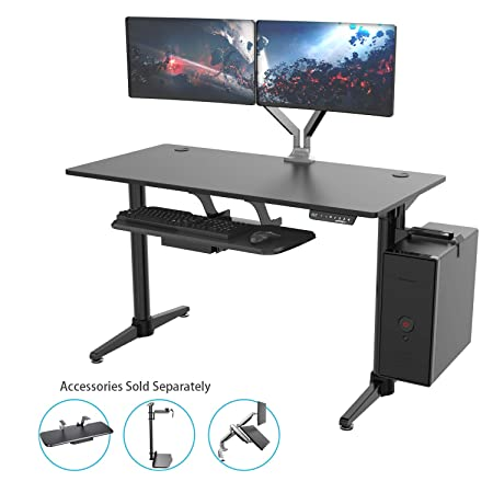 New Generation Eureka Ergonomic Electric Standing Desk, Adjustable Height Stand Up Desk Computer Desks Dual Motor Self-Locking Protection Suitable for Home Office Black
