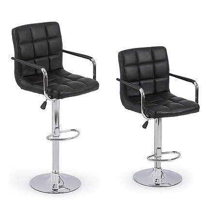 2 Bar Stools Leather Modern Hydraulic Swivel Pub Chair Bar Stool W/ Armrest    Black
