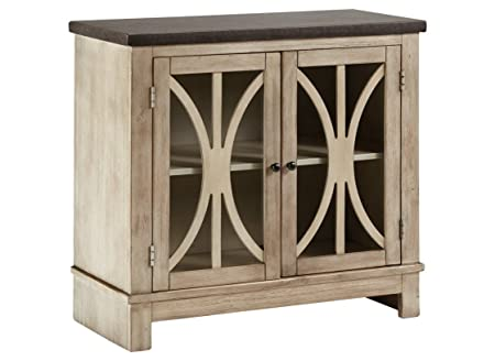 Ashley Furniture Signature Design – Vennilux – 2 Doors with Glass Inserts – Vintage Casual – Bisque