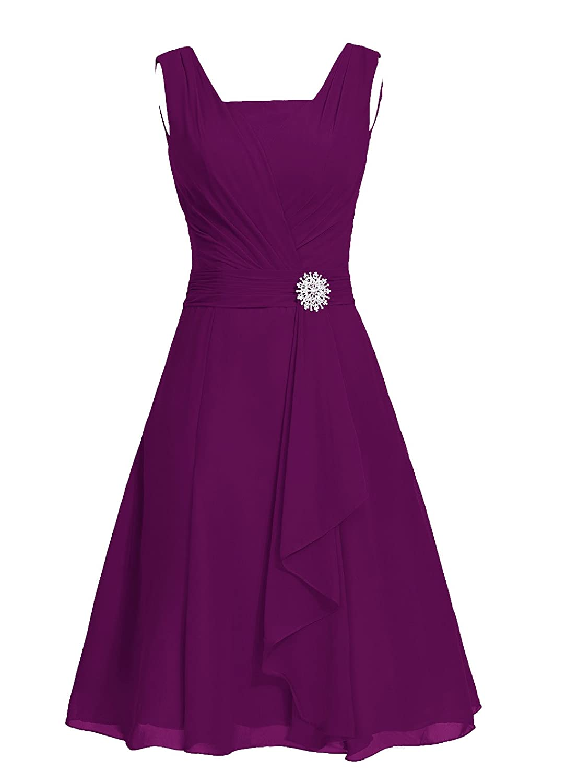 Dresstell レディーズ ショート丈 お呼ばれ 結婚式ドレス シンプルシフォン ビスチェタイプ 披露宴 フォーマルドレス 袖なし ビジュー付き ブライズメイドドレス 二次会ドレス B0114FXAWO JP9|葡萄色 葡萄色 JP9