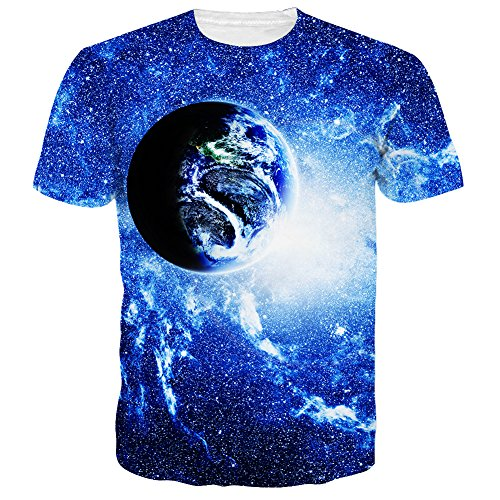Planet Blue Clothing - Neemanndy Unisex Blue Planet Earth and Star Design Print Graphic Crewneck Tee Shirt Tops for Men and Women, Small