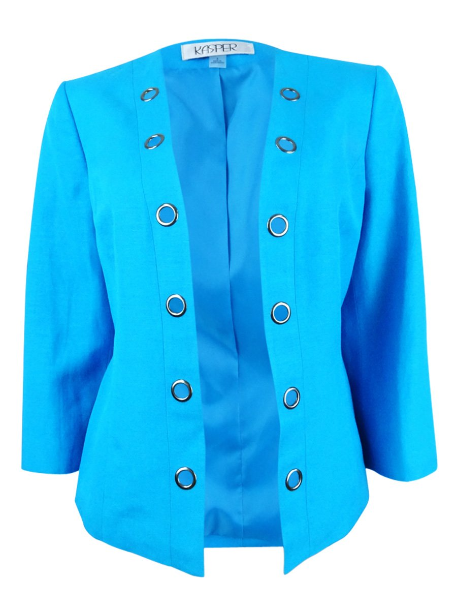 Kasper Womens Plus Grommet-Trim Bracelet Sleeves Blazer Blue 14W