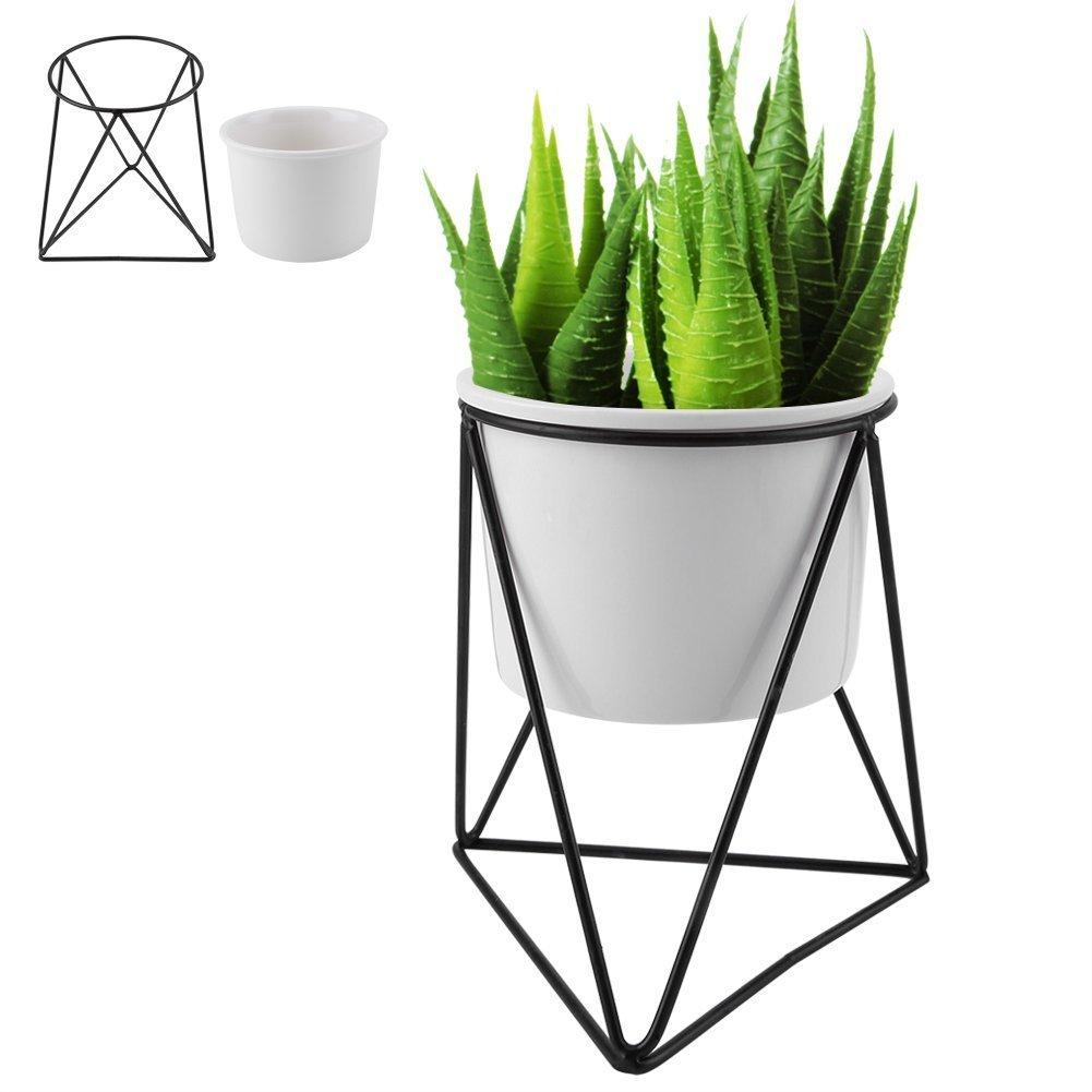 Vaso da Fiori in Ceramica, Fioriera Moderna con Triangolo Geometrico in Metallo per Piante da Giardino con Supporto per Espositore per Cactus Succulente(Vaso bianco + cornice dorata) Zerodis