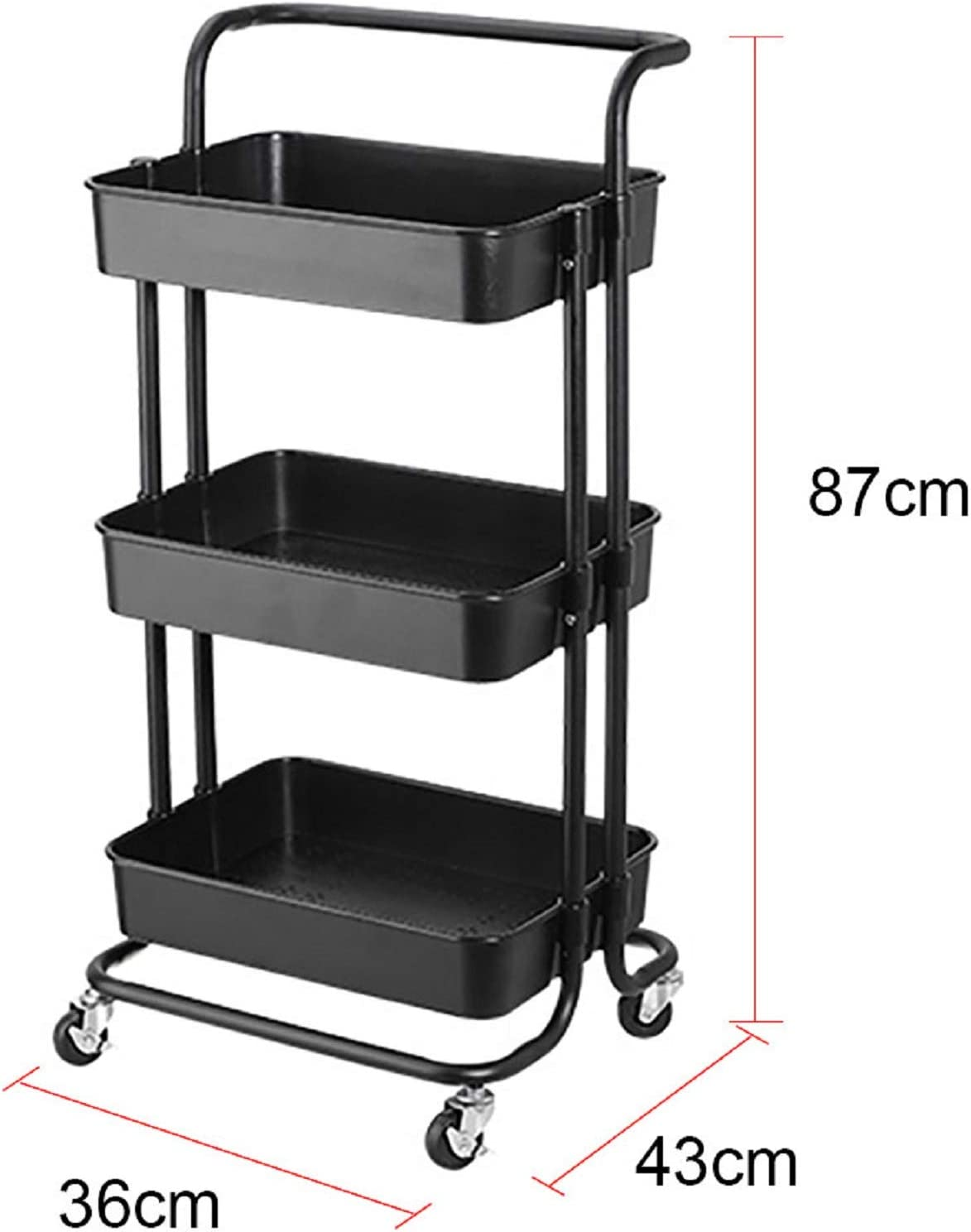 N//Y 3-Tier Rolling Cart Metal Utility Cart Rolling Trolley Organizer Cart With Wheels For Bathroom Kitchen Office Library(Black)