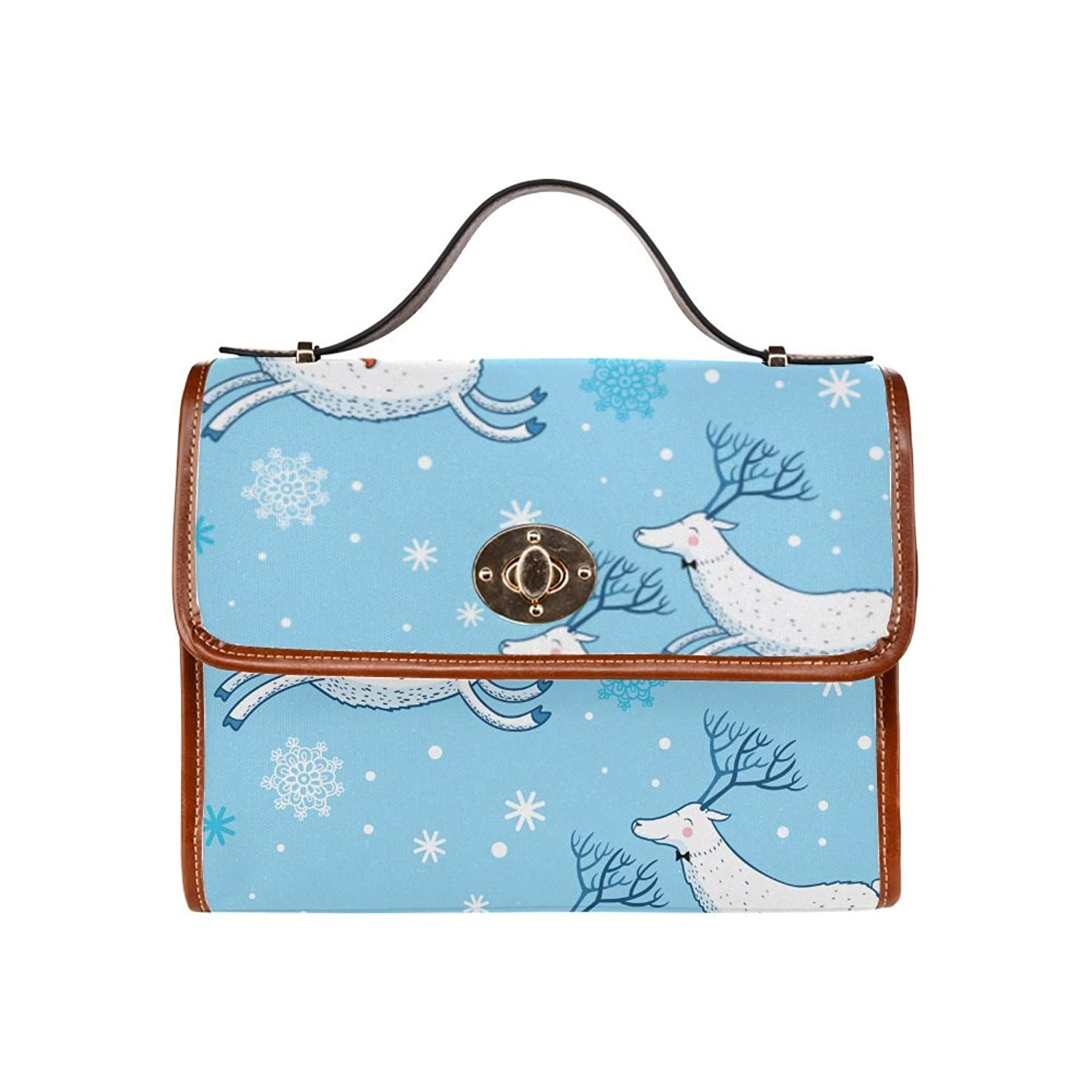 Christmas Reindeer Waterproof Canvas Tote Crossbody Bag Shoulder Messenger Bags