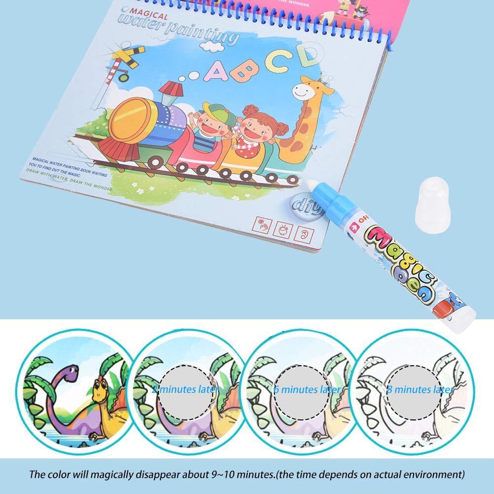 Dinosaur Libro de dibujo de Magic Water libro para colorear con agua Doodle con Magic Pen Tablero de pintura Port/átil Ni/ños Dibujo Pintura Juguete educativo para ni/ños Ni/ños peque/ños Chicas
