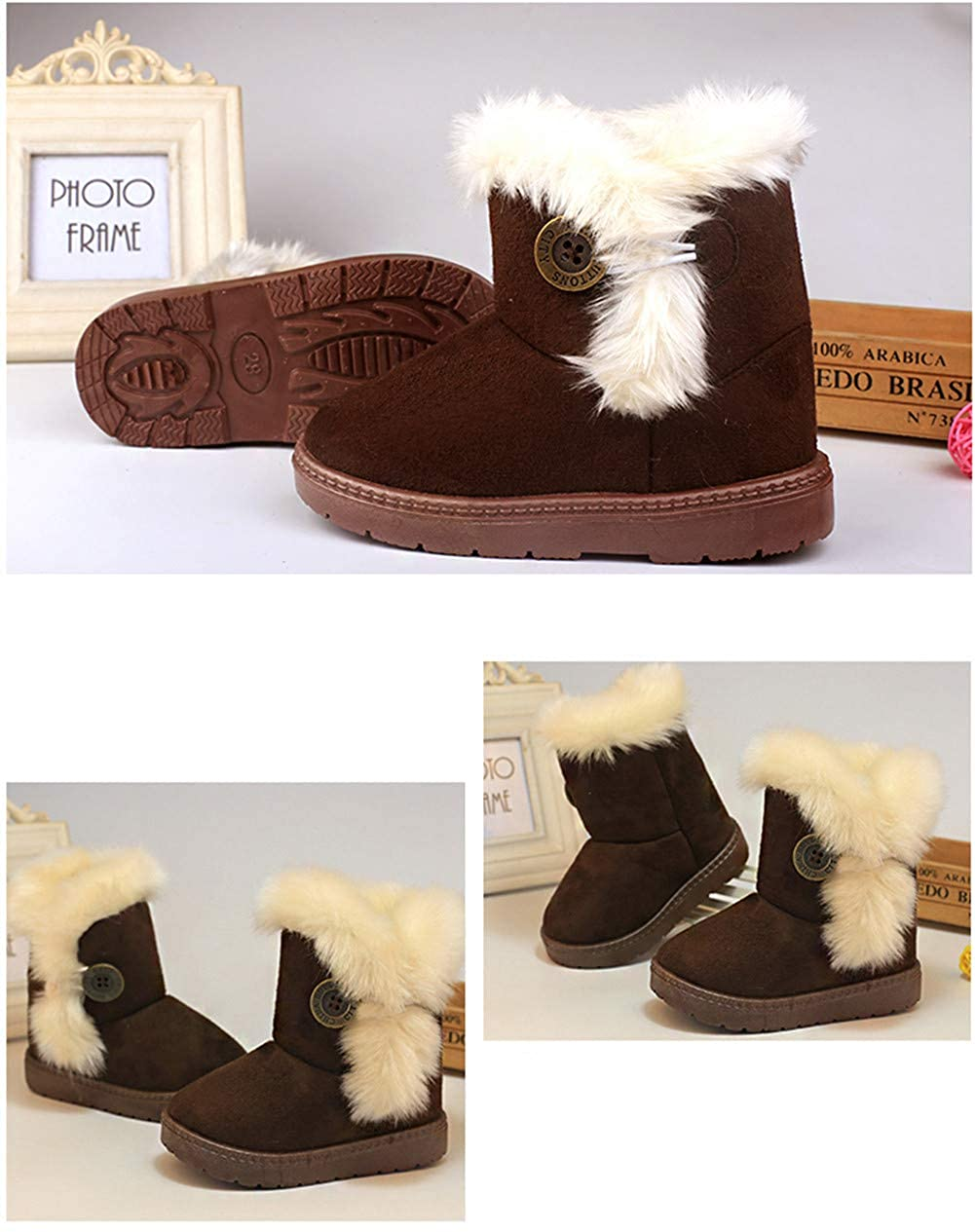 DoMii Baby Toddler Girls Winter Snow Boots Fashion Fur Lined Outdoor Boots Anti-Slip Crib Shoes