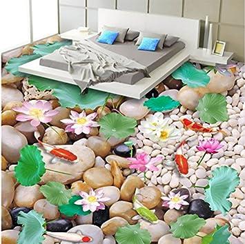 Rureng Chinesischen Stil Kiesel Lotus Karpfen 3D Landschaft Bodenbelag  Fliesen Wandbild Tapete Badezimmer Schlafzimmer Pvc Wasserdichte