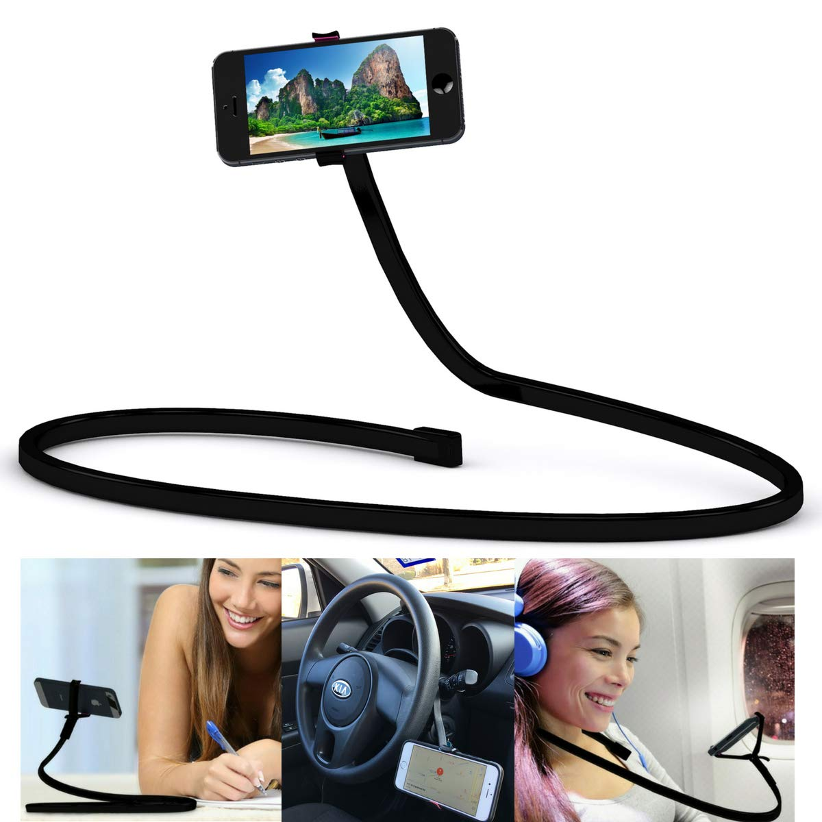 Geekx Cell Phone Holder, iPhone Stand - More Versatile Than a Tripod. Lazy Neck Gooseneck Adjustable Arm, Removable Mount for Desk, Table or Bed. Universal Fit Apple, Samsung Galaxy. 360 Swivel.