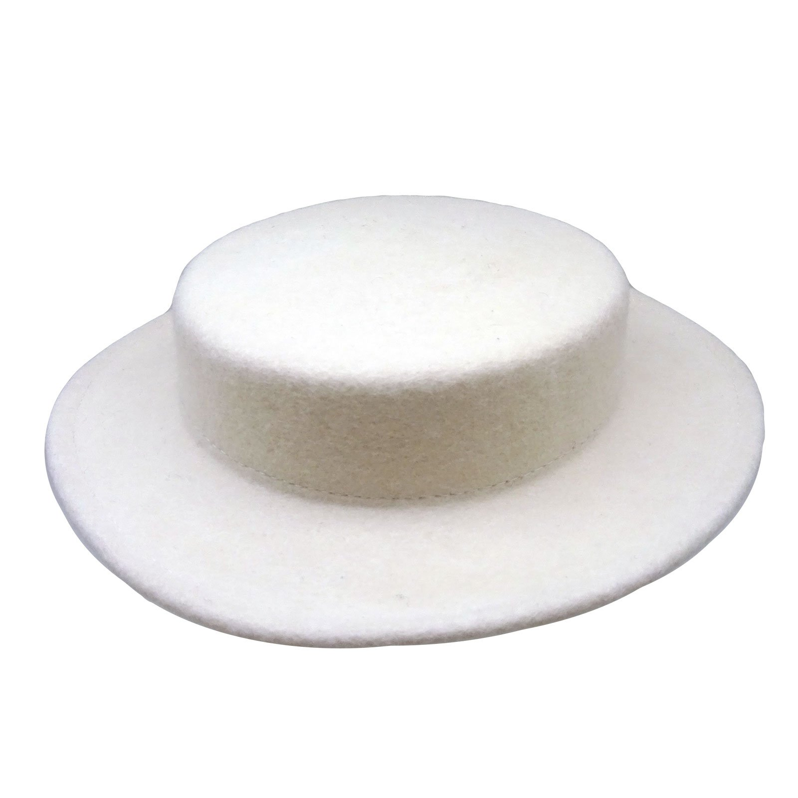 HATsanity Women's Trendy Wool Felt Mini Boater Hat Style Fascinator Ivory