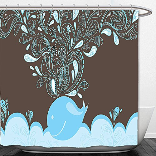 Interestlee Shower Curtain Whale Decor Baloon Like Whale in the Ocean with Bubble Cartoon Batik Indian Style Image Blue and Brown