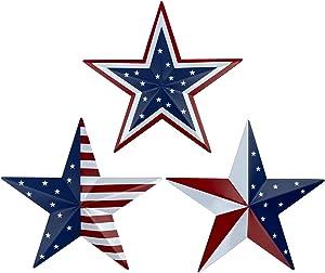 Metal Barn Star Art - American Flag Patriotic 9-Inch Star Wall Decoration, Wall Mount 3D Barn Star Decor July of 4th Decoration, Set of 3